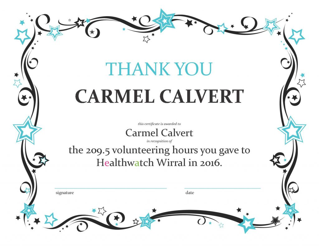 Volunteer thank you and hours certificate (vol of the year)2016